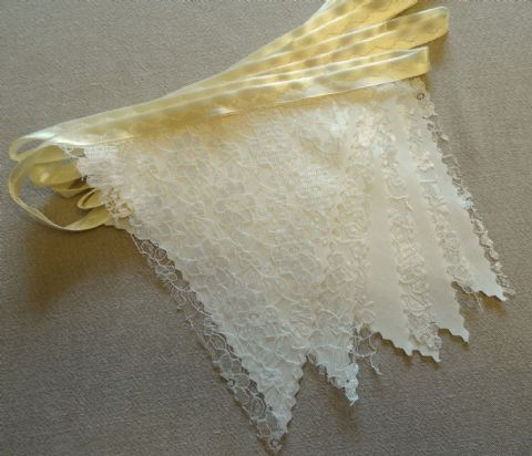 BUNTING - Light Cream Lace and Cotton on a Satin Ribbon - 3m, 5m or 10m